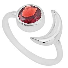 2.39cts natural red garnet 925 sterling silver adjustable moon ring size 9 t4250