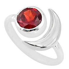 2.46cts natural red garnet 925 silver adjustable moon ring size 5.5 t4247