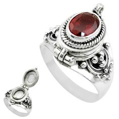 2.34cts natural red garnet 925 sterling silver poison box ring size 7.5 t52802