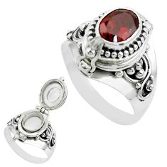 1.92cts natural red garnet 925 sterling silver poison box ring size 7.5 t52806
