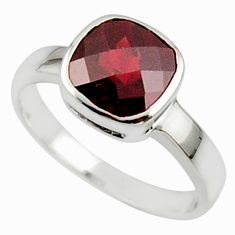 3.03cts natural red garnet 925 sterling silver ring jewelry size 5.5 r45687