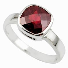 3.14cts natural red garnet 925 sterling silver ring jewelry size 6.5 r45688