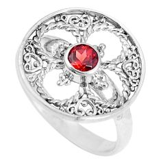 0.70cts natural red garnet 925 sterling silver ring jewelry size 7 c16213