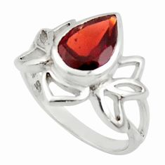 3.17cts natural red garnet 925 sterling silver ring jewelry size 8 r45704