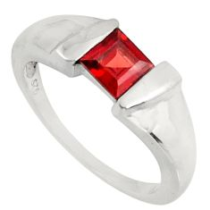 1.09cts natural red garnet 925 sterling silver solitaire ring size 6.5 d39025