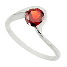 1.13cts natural red garnet 925 sterling silver solitaire ring size 6.5 r25355