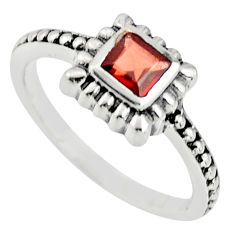 0.58cts natural red garnet 925 sterling silver solitaire ring size 5.5 r25451