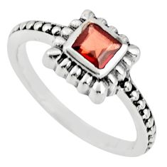 0.57cts natural red garnet 925 sterling silver solitaire ring size 5.5 r25454