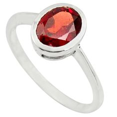 2.23cts natural red garnet 925 sterling silver solitaire ring size 6.5 r25556