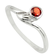 0.64cts natural red garnet 925 sterling silver solitaire ring size 6.5 r25578