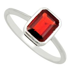 2.16cts natural red garnet 925 sterling silver solitaire ring size 7.5 r25656