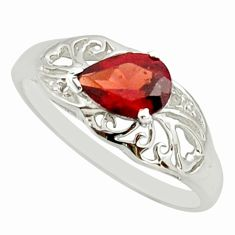 1.58cts natural red garnet 925 sterling silver solitaire ring size 5.5 r25674