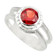 2.44cts natural red garnet 925 sterling silver solitaire ring size 7.5 r25818