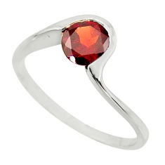 1.32cts natural red garnet 925 sterling silver solitaire ring size 8.5 r25929