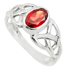 1.58cts natural red garnet 925 sterling silver solitaire ring size 5.5 r25952