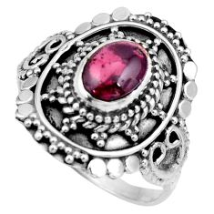 2.13cts natural red garnet 925 sterling silver solitaire ring size 8.5 r26987