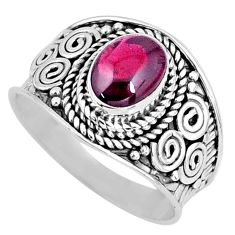 2.17cts natural red garnet 925 sterling silver solitaire ring size 7.5 r57942