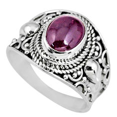 3.19cts natural red garnet 925 sterling silver solitaire ring size 7.5 r58382