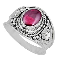3.19cts natural red garnet 925 sterling silver solitaire ring size 9.5 r58385
