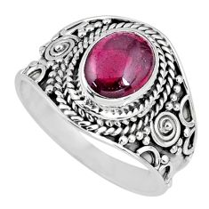 3.01cts natural red garnet 925 sterling silver solitaire ring size 8.5 r58393