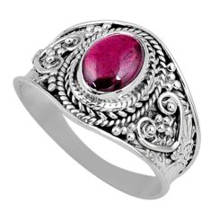 2.09cts natural red garnet 925 sterling silver solitaire ring size 8.5 r58653