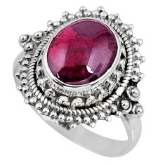 3.98cts natural red garnet 925 sterling silver solitaire ring size 6.5 r58991