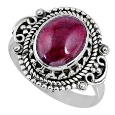 3.83cts natural red garnet 925 sterling silver solitaire ring size 6.5 r58993