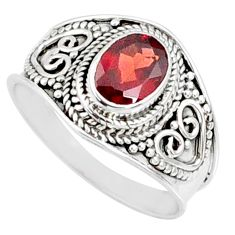 2.17cts natural red garnet 925 sterling silver solitaire ring size 8.5 r68965