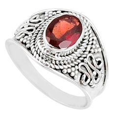 2.17cts natural red garnet 925 sterling silver solitaire ring size 7.5 r68973