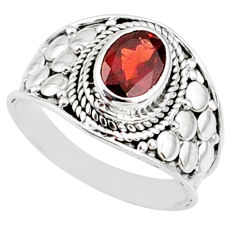 2.13cts natural red garnet 925 sterling silver solitaire ring size 7.5 r68974