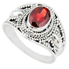 2.01cts natural red garnet 925 sterling silver solitaire ring size 7.5 r68977