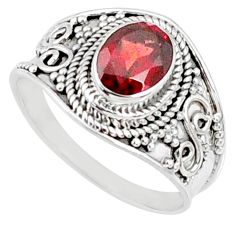 2.19cts natural red garnet 925 sterling silver solitaire ring size 8.5 r68980