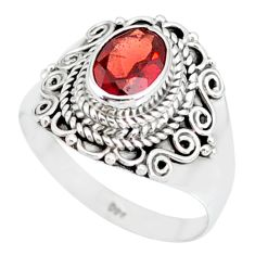 2.03cts natural red garnet 925 sterling silver solitaire ring size 8.5 r87025