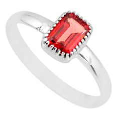 1.74cts natural red garnet 925 sterling silver solitaire ring size 10 r77192