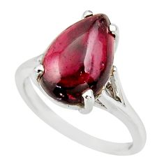 5.45cts natural red garnet 925 sterling silver solitaire ring size 6 r35886