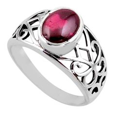 3.28cts natural red garnet 925 sterling silver solitaire ring size 6 r54662