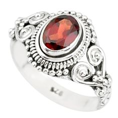 1.48cts natural red garnet 925 sterling silver solitaire ring size 6 r85603