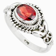 1.45cts natural red garnet 925 sterling silver solitaire ring size 6 r85605