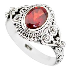 1.45cts natural red garnet 925 sterling silver solitaire ring size 6 r85609