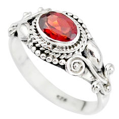 1.54cts natural red garnet 925 sterling silver solitaire ring size 6 r85610