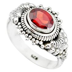 1.44cts natural red garnet 925 sterling silver solitaire ring size 6 r85625