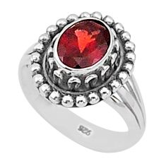 1.91cts natural red garnet 925 sterling silver solitaire ring size 6 t1336