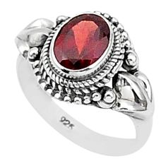 2.03cts natural red garnet 925 sterling silver solitaire ring size 6 t1355