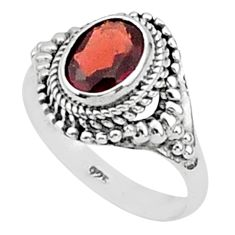 1.96cts natural red garnet 925 sterling silver solitaire ring size 6 t1395