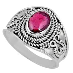1.81cts natural red garnet 925 sterling silver solitaire ring size 7 r58650