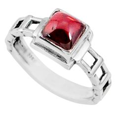 1.39cts natural red garnet 925 sterling silver solitaire ring size 7 r68733