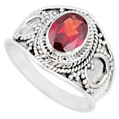 2.17cts natural red garnet 925 sterling silver solitaire ring size 7 r68968