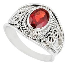 2.12cts natural red garnet 925 sterling silver solitaire ring size 7 r68978