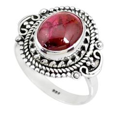3.98cts natural red garnet 925 sterling silver solitaire ring size 7 r73426