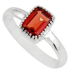 1.57cts natural red garnet 925 sterling silver solitaire ring size 7 r77176